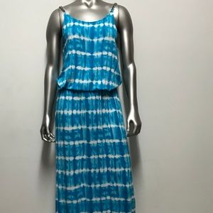 teal blue tie dye maxi dress Michael Kors